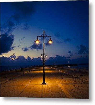 White Street Pier Lights Metal Print