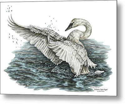 Metal Print featuring the drawing White Swan - Dreams Take Flight-tinted by Kelli Swan