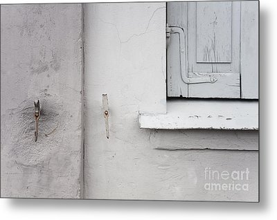 White Wall Gray Shutters Metal Print by Agnieszka Kubica