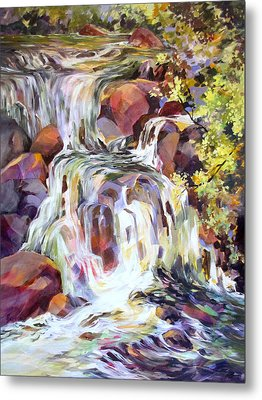 Metal Print featuring the painting White Water Tumble by Rae Andrews