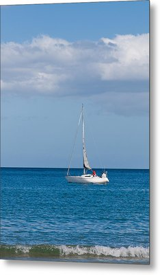 White Yacht Sails In The Sea Along The Coast Line Metal Print by Ulrich Schade