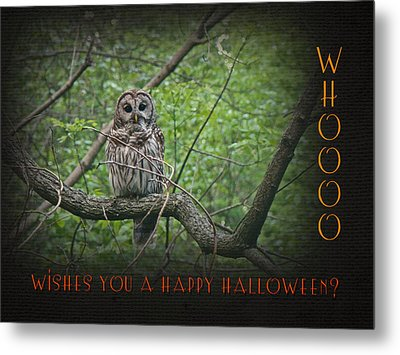 Whoooo Wishes  You A Happy Halloween - Greeting Card - Owl Metal Print by Mother Nature