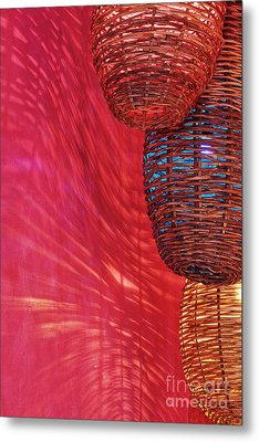 Wicker Light Shades And Pink Wall Metal Print by Jeremy Woodhouse