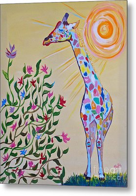 Wild And Crazy Giraffe Metal Print