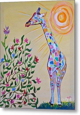 Wild And Crazy Giraffe Metal Print by Phyllis Kaltenbach