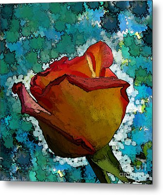 Wild And Crazy Rose Bud Metal Print by Debbie Portwood