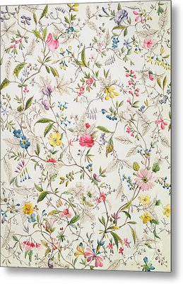 Wild Flowers Design For Silk Material Metal Print