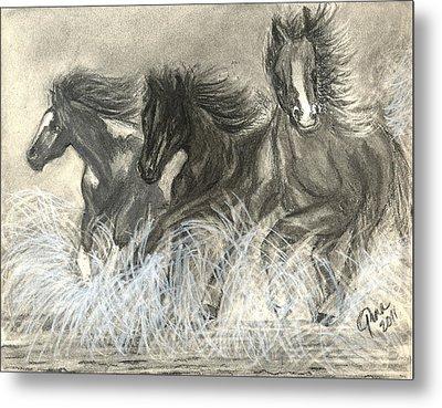 Wild Horses Run Metal Print by Gina Cordova