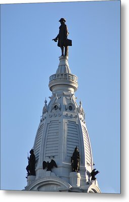William Penn - On Top Of City Hall Metal Print by Bill Cannon