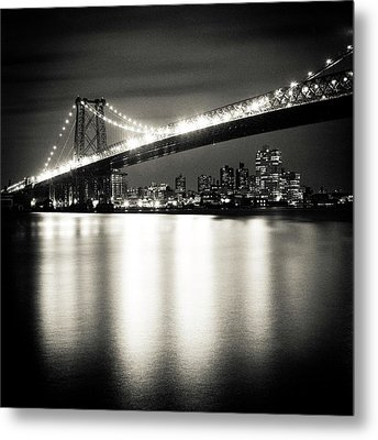 Williamsburg Bridge At Night Metal Print by Adam Garelick