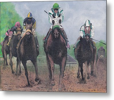 Win Place And Show Metal Print by Stuart B Yaeger