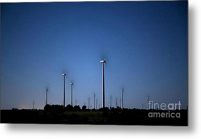 Wind Farm At Night Metal Print