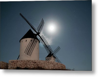 Wind Mills In Light Of Moon Metal Print by Noviembre Anita Vela
