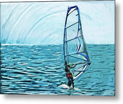 Wind Surfer Metal Print by Tilly Williams