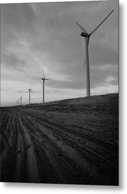Wind Turbine Plant On Beach Metal Print by KUJIRAI kentaro