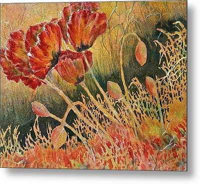 Windblown Poppies Metal Print by Carolyn Rosenberger