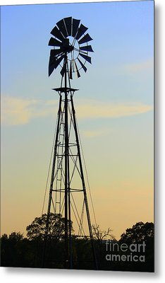 Metal Print featuring the photograph Windmill At Dusk by Kathy  White