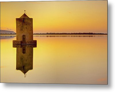 Windmill At Sunset Metal Print by by Andrea Pucci