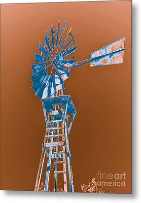 Windmill Blue Metal Print by Rebecca Margraf