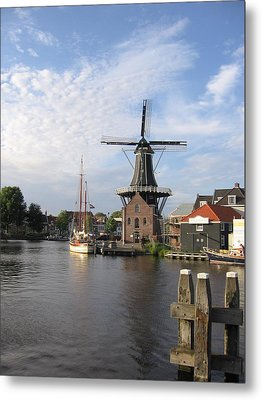 Metal Print featuring the photograph Windmill In The Nederlands by Karen Molenaar Terrell