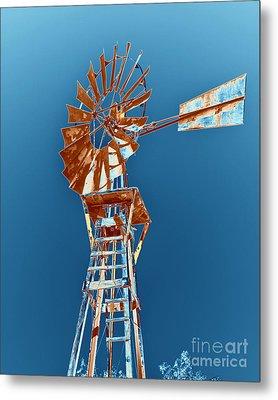 Windmill Rust Orange With Blue Sky Metal Print by Rebecca Margraf