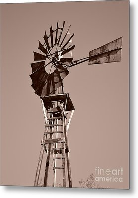 Windmill Sepia Metal Print by Rebecca Margraf