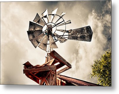 Metal Print featuring the photograph Windmill With Storm Approaching by James Bethanis