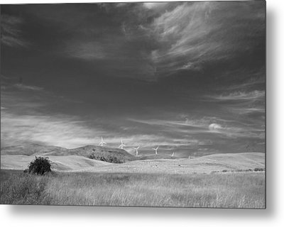 Metal Print featuring the photograph Windmills In The Distant Hills by Kathleen Grace