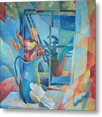 Window In Blue Metal Print