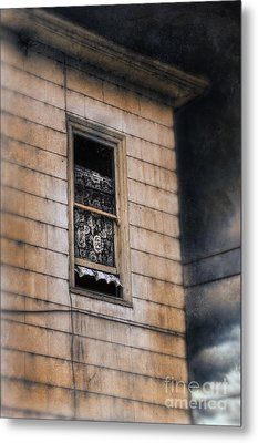 Window In Old House Stormy Sky Metal Print by Jill Battaglia