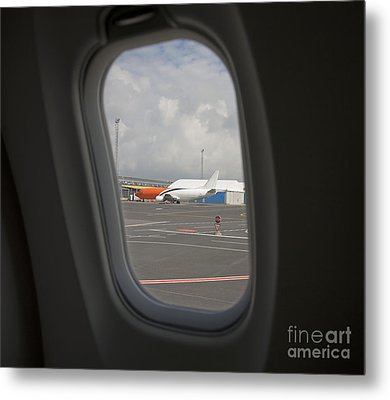 Window View On An Airplane Metal Print by Jaak Nilson