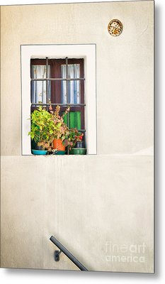 Window With White Frame And Vases Metal Print by Silvia Ganora