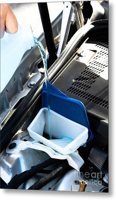 Windshield Cleaning Fluid Metal Print by Photo Researchers