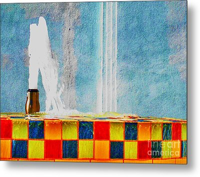 Metal Print featuring the photograph Windy Fountain  by John King