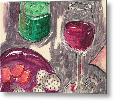 Wine And Cheese Metal Print by Suzanne Blender