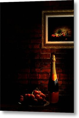 Wine And Grape Metal Print by Lourry Legarde