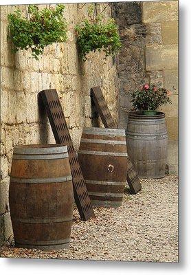 Wine Barrels And Racks In Saint Emilion France Metal Print by Greg Matchick