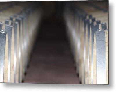 Wine Barrels In Line Metal Print by Mats Silvan