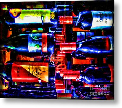 Wine Bottles Metal Print by Joan  Minchak