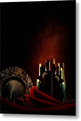Wine Break Metal Print by Lourry Legarde