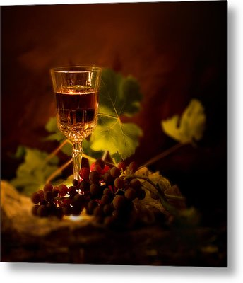 Wine Glass And Grapes Metal Print by Ellie Caputo