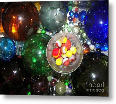 Wine Glass And Marbles Metal Print by Rachel Carmichael
