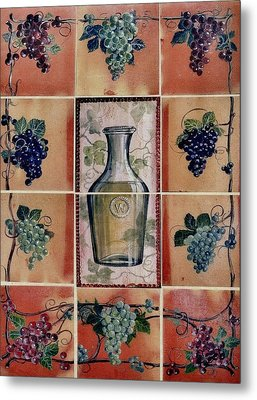 Wine Grape Mural Metal Print by Andrew Drozdowicz