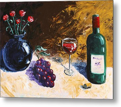 Metal Print featuring the painting Wine Grapes And Roses Still Life Painting by Mark Webster
