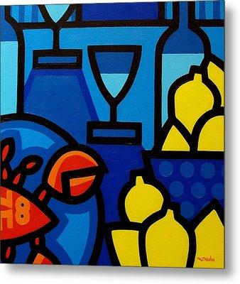 Wine Lobster Lemons  Metal Print by John  Nolan