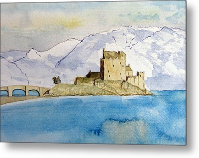 Winter At Eilean Donan Castle Metal Print by Louise Grant