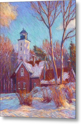 Winter At The Lighthouse Metal Print by Michael Camp