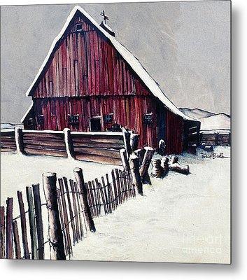 Winter Barn Metal Print by Robert Birkenes