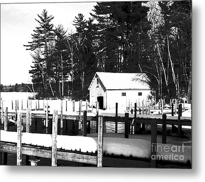 Winter Boathouse Metal Print by Christy Bruna