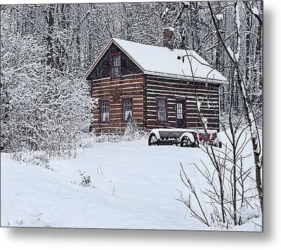 Metal Print featuring the photograph Winter Cabin by Judy  Johnson